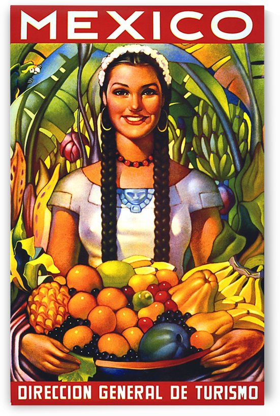 Mexico Mexican Girl with Fruits by vintagesupreme