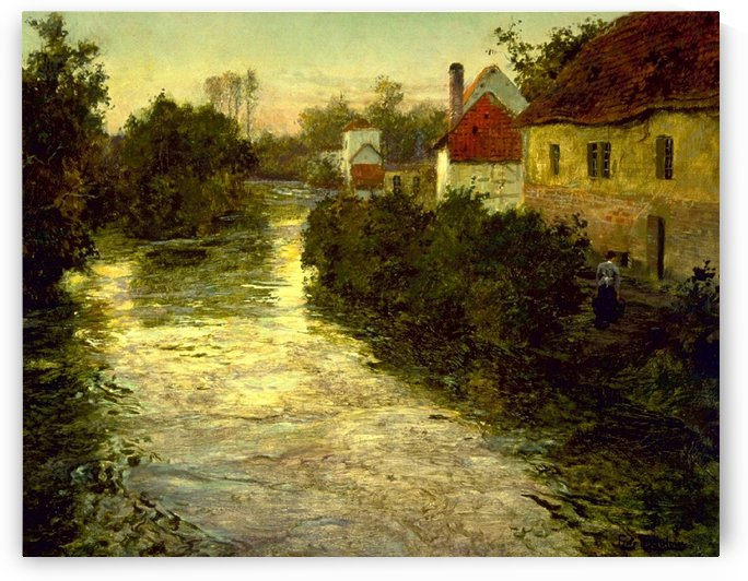 Village on the Bank of a Stream by Frits Thaulow