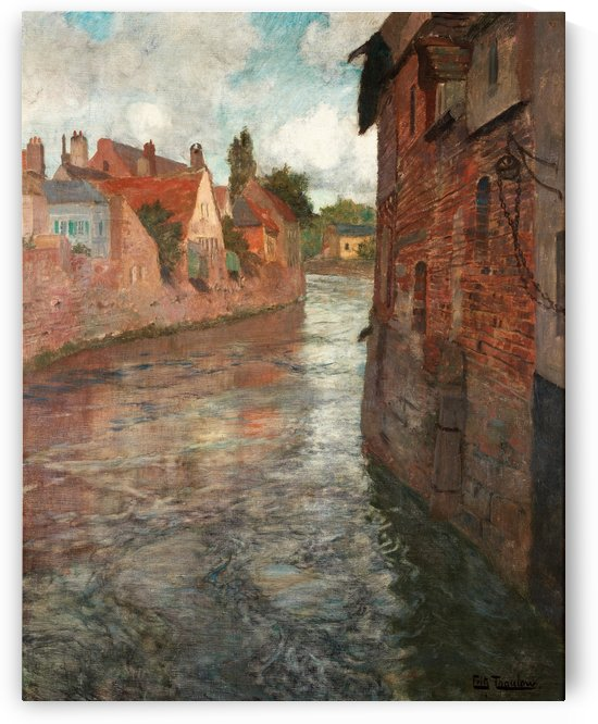 Old houses at somme in Abbeville by Frits Thaulow
