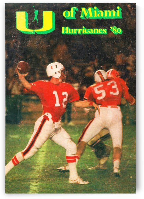 1980 miami hurricanes football jim kelly by Row One Brand
