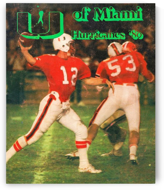 vintage miami hurricanes college football poster by Row One Brand