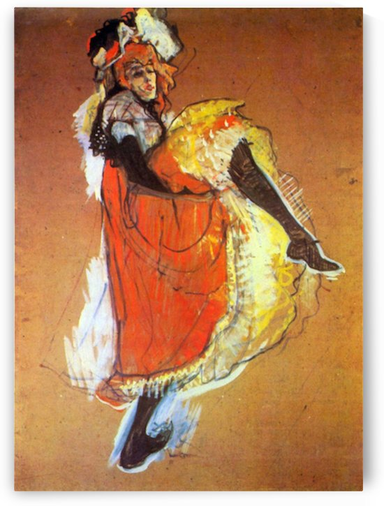 Jane Avril Dancing by Toulouse-Lautrec by Toulouse-Lautrec