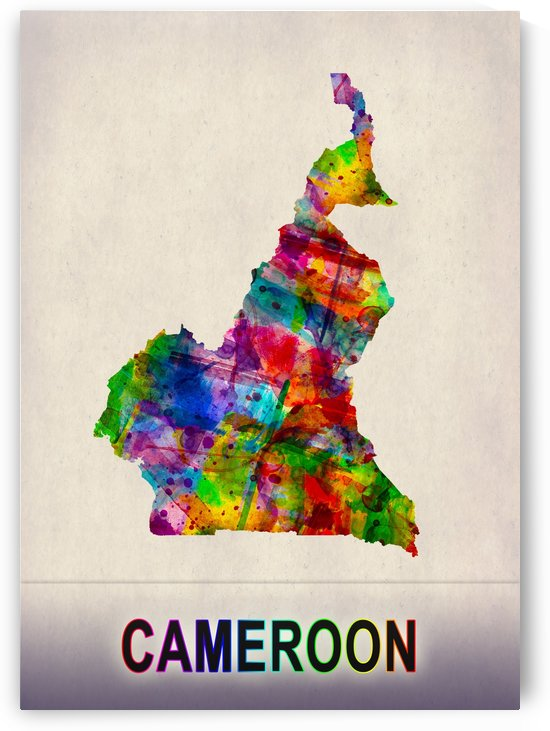 Cameroon Map in Watercolor by Towseef