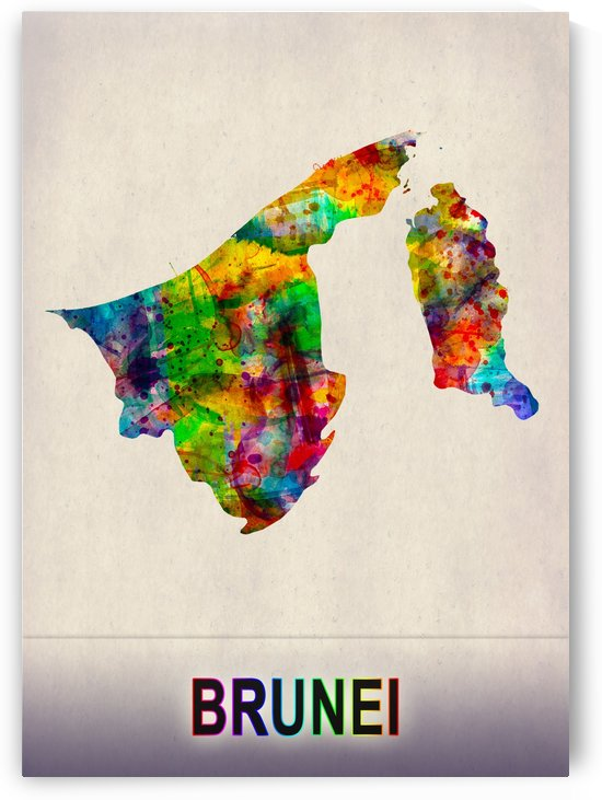 Brunei Map in Watercolor by Towseef