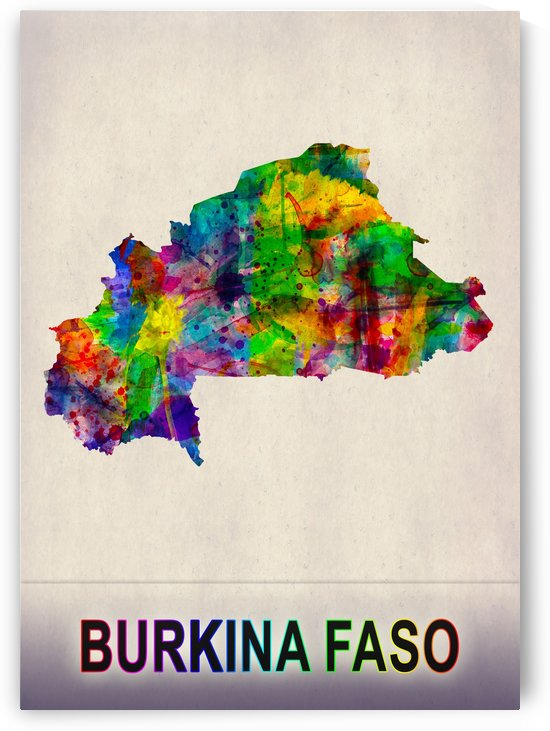 Burkina Faso Map in Watercolor by Towseef