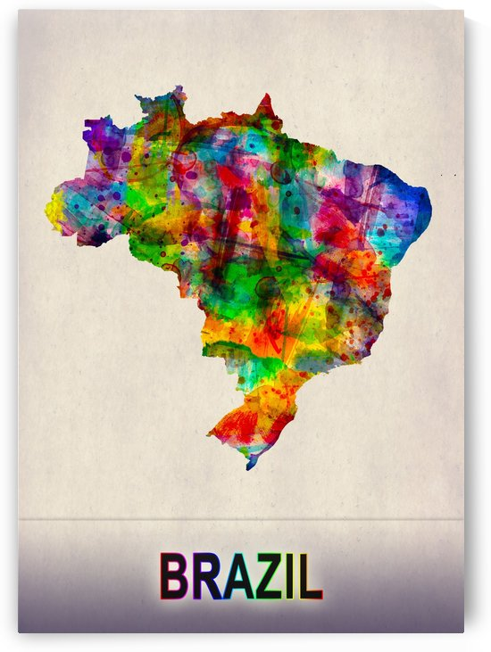 Brazil Map in Watercolor by Towseef