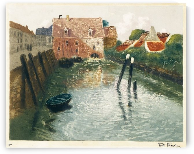 Channel with Watermill by Frits Thaulow