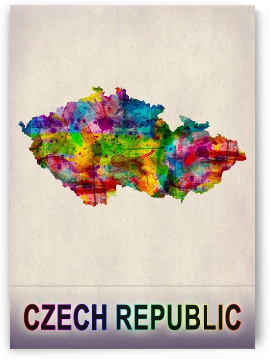 Czech Republic Map in Watercolor by Towseef Dar