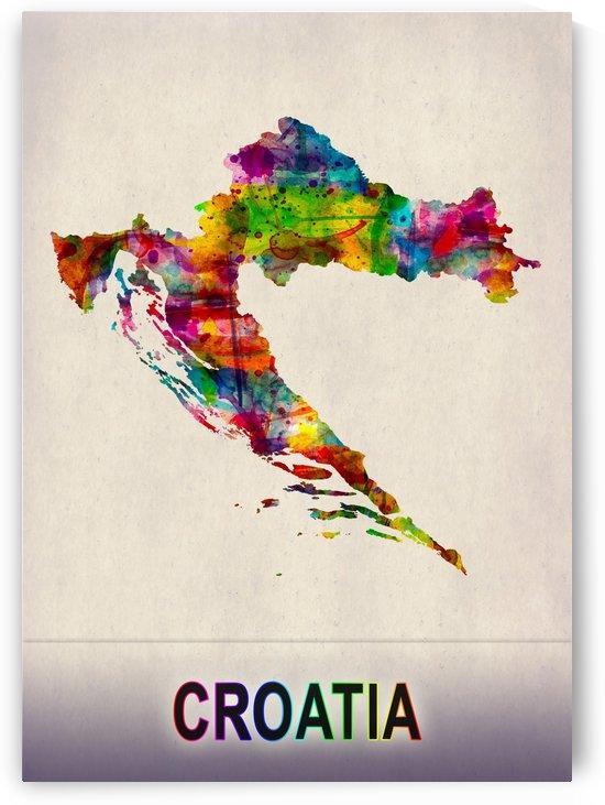 Croatia Map in Watercolor by Towseef Dar
