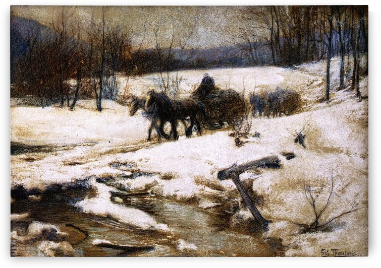 Horse Drawn Carts in Winter by Frits Thaulow