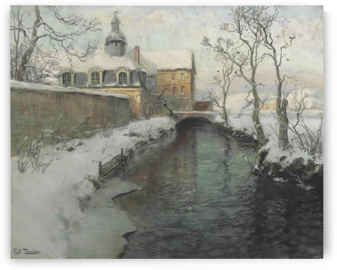 City wall with river during winter by Frits Thaulow