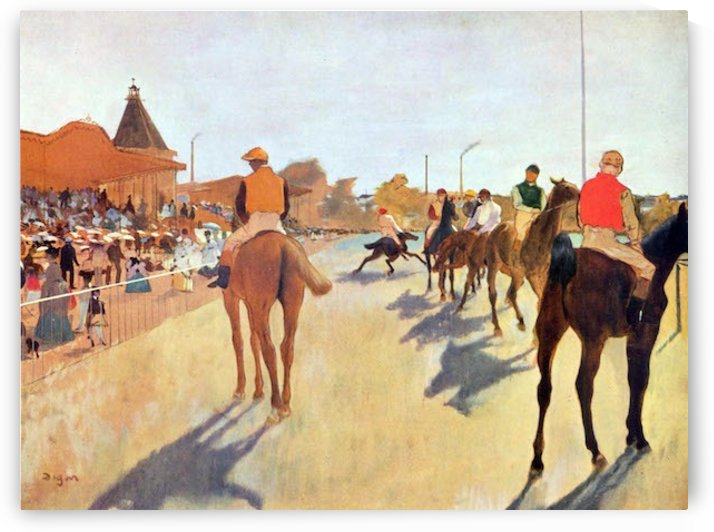 Jockeys in front of the grandstand by Degas by Degas
