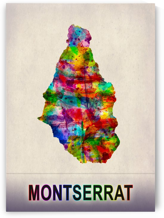 Montserrat Map in Watercolor by Towseef