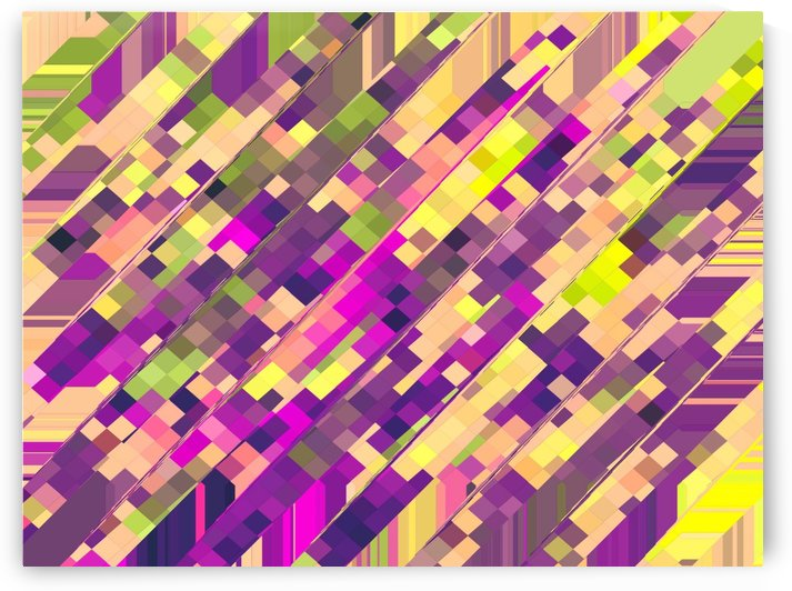 geometric square pixel pattern abstract background in pink purple green by TimmyLA