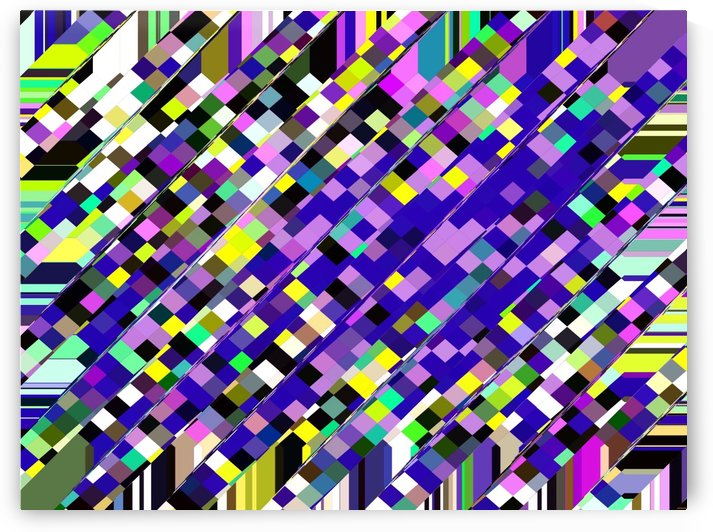 geometric square pixel pattern abstract background in blue purple yellow by TimmyLA