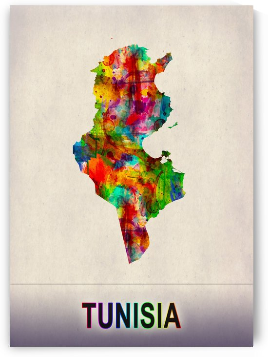 Tunisia Map in Watercolor by Towseef Dar