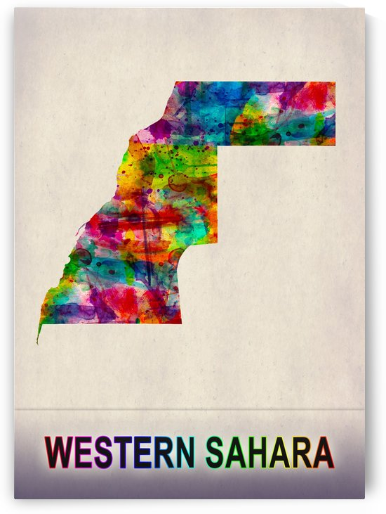 Western Sahara Map in Watercolor by Towseef