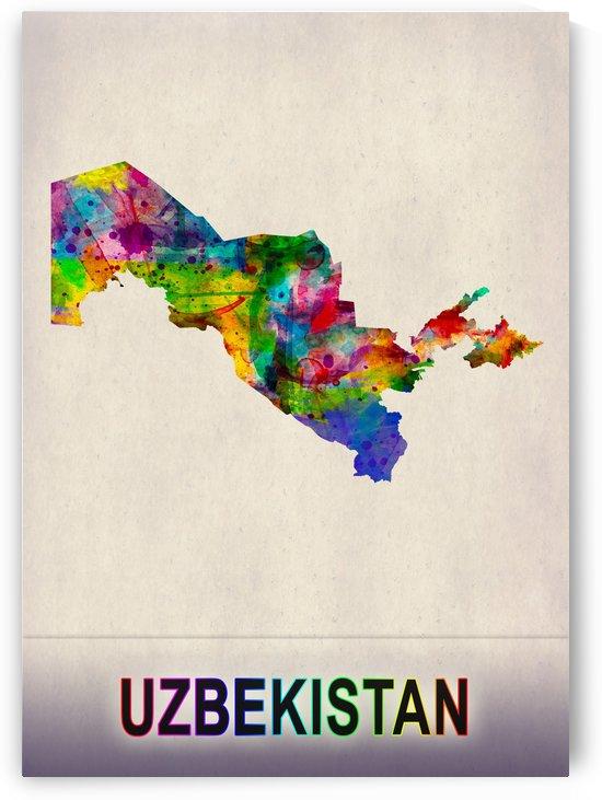 Uzbekistan Map in Watercolor by Towseef Dar