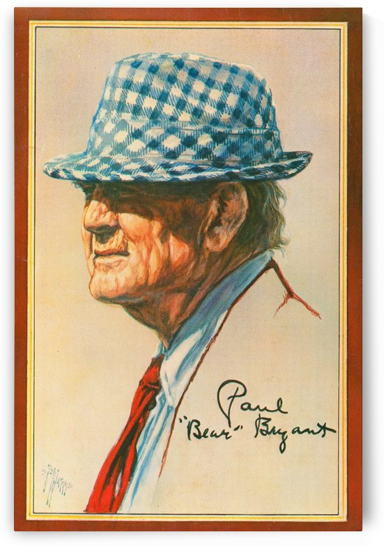 ted watts art bear bryant houndstooth hat poster by Row One Brand