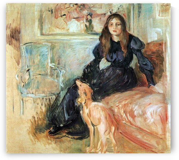 Julie Manet and her greyhound Laertes by Morisot by Morisot