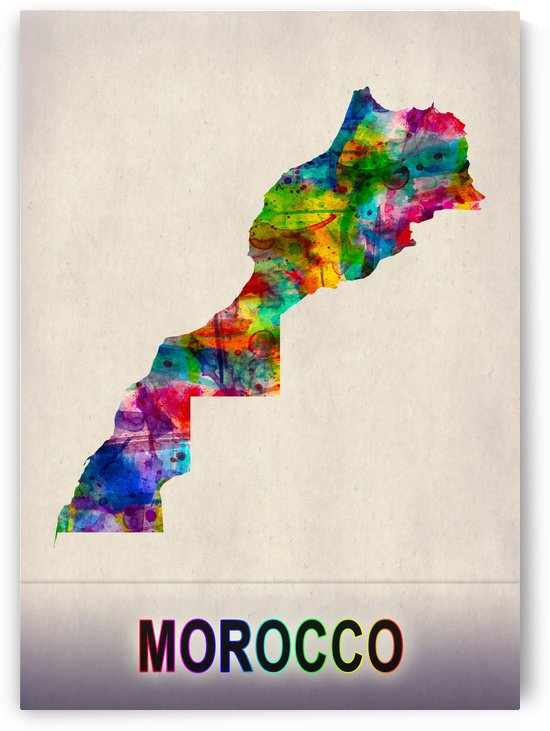 Morocco Map in Watercolor by Towseef