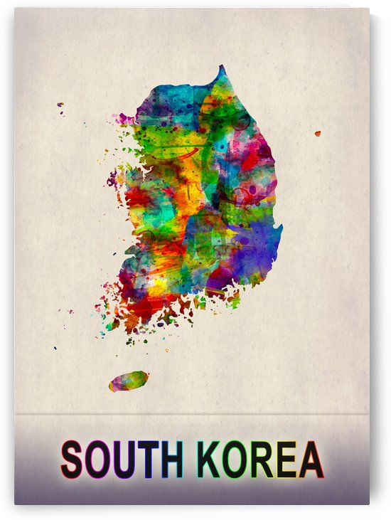 South Korea Map in Watercolor by Towseef