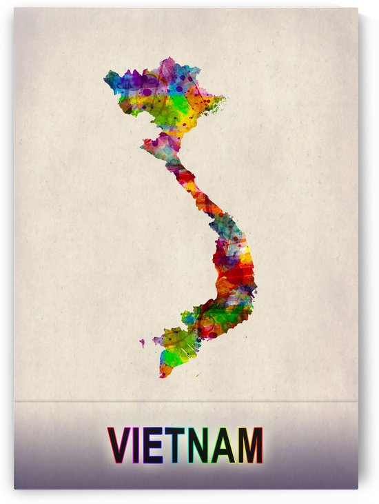 Vietnam Map in Watercolor by Towseef Dar