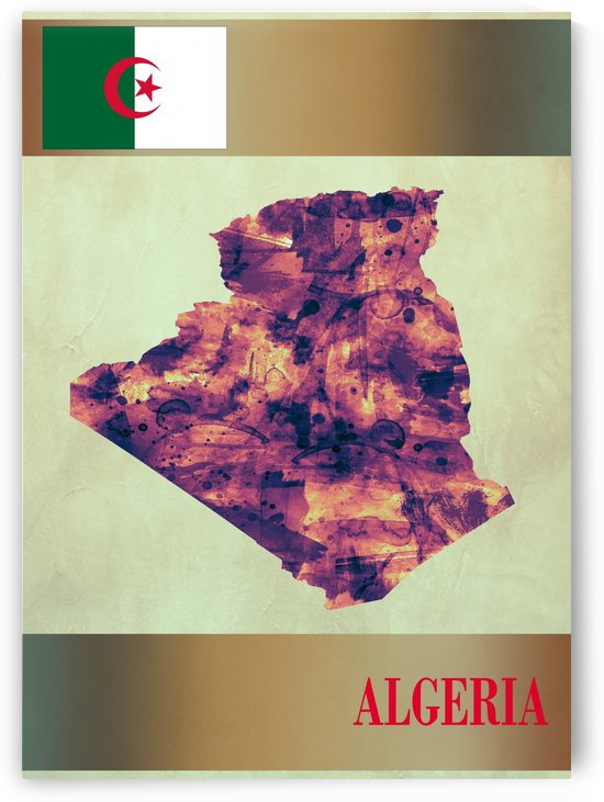 Algeria Map with Flag by Towseef