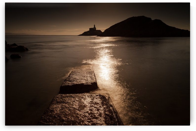 Mumbles lighthouse sunrise by Leighton Collins