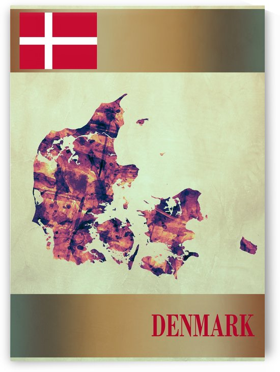Denmark Map with Flag by Towseef Dar