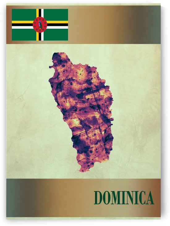 Dominica Map with Flag by Towseef Dar