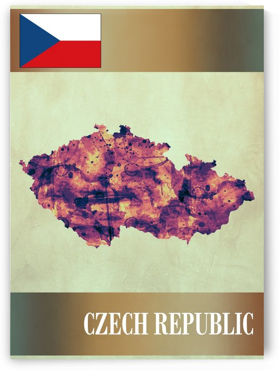 Czech Republic Map with Flag by Towseef Dar