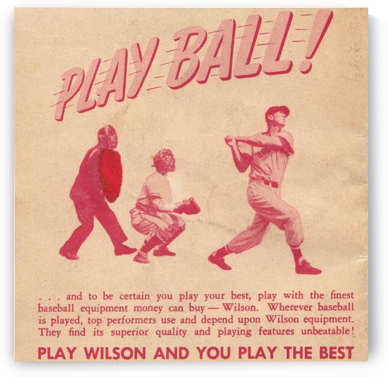 1951 vintage wilson baseball ad play ball by Row One Brand