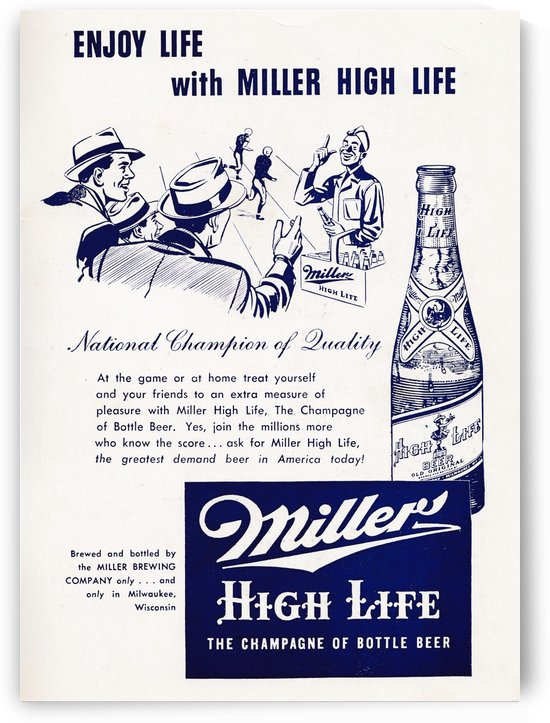 Vintage Miller Beer Ad Poster by Row One Brand