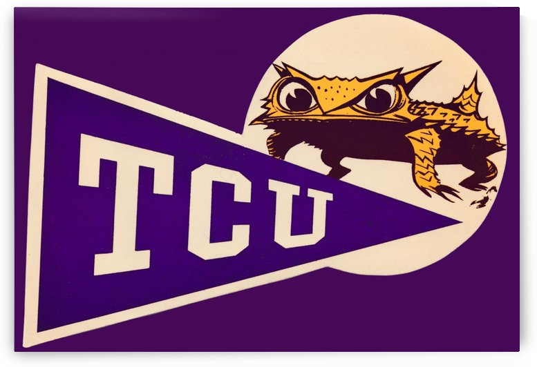 Vintage TCU Texas Christian Horned Frog Logo Art by Row One Brand