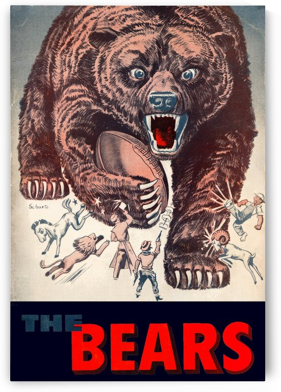 vintage chicago bears art retro remix poster by Row One Brand