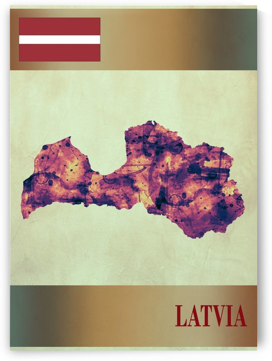Latvia Map with Flag by Towseef Dar