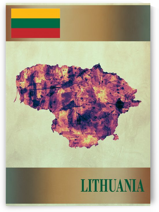 Lithuania Map with Flag by Towseef Dar