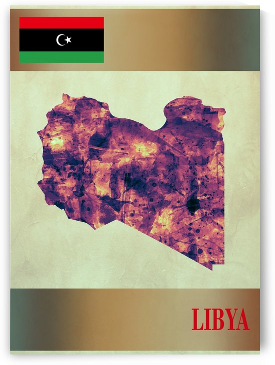 Libya Map with Flag by Towseef Dar