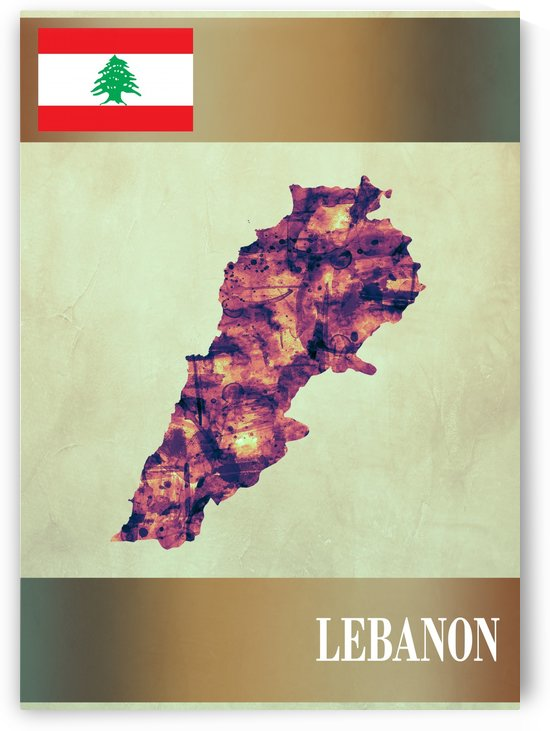 Lebanon Map with Flag by Towseef Dar