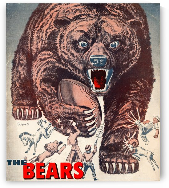 retro remix posters chicago bears vintage nfl art by Row One Brand