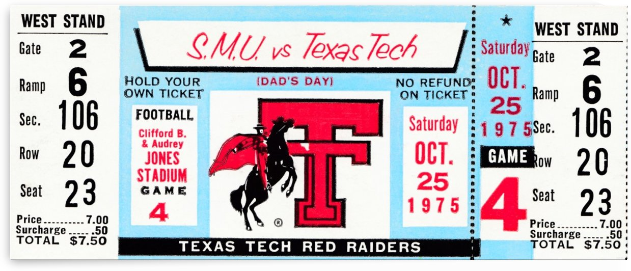 1975 texas tech red raiders football by Row One Brand