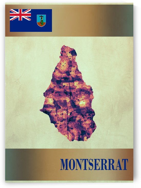 Montserrat Map with Flag by Towseef Dar