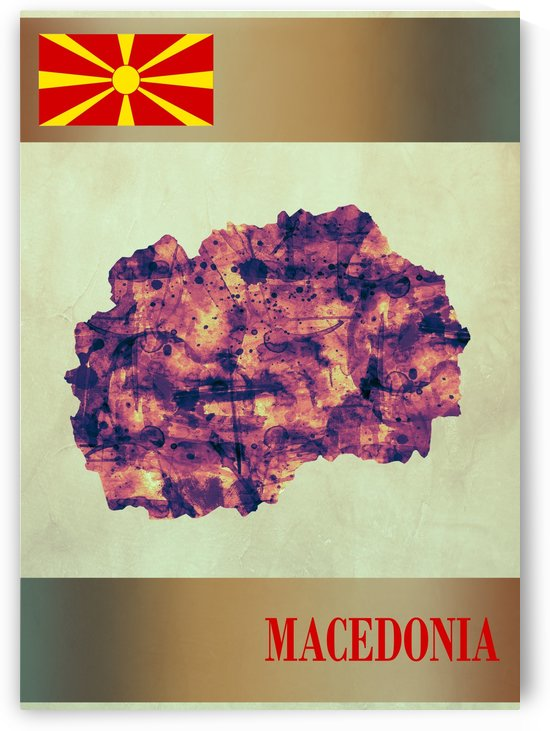 Macedonia Map with Flag by Towseef Dar