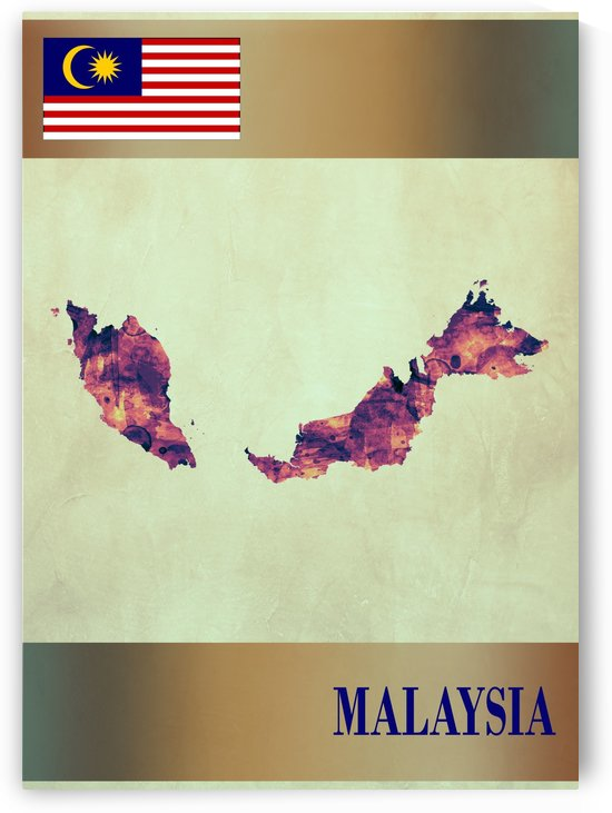 Malaysia Map with Flag by Towseef Dar
