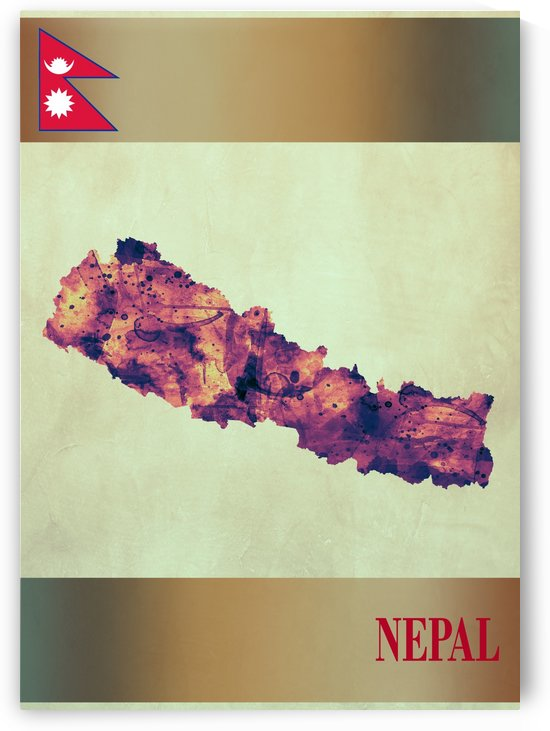 Nepal Map with Flag by Towseef Dar