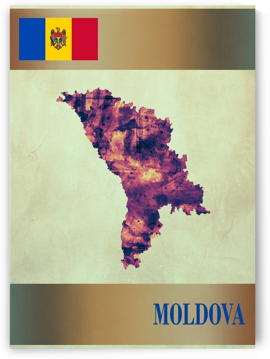 Moldova Map with Flag by Towseef Dar