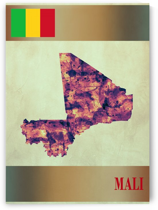 Mali Map with Flag by Towseef Dar