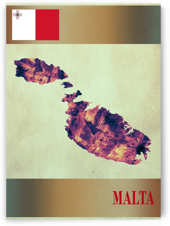Malta Map with Flag by Towseef Dar
