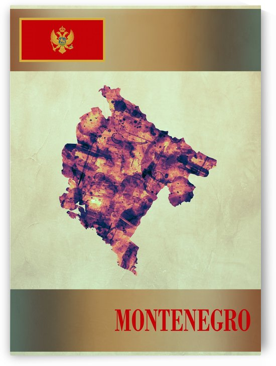 Montenegro Map with Flag by Towseef Dar